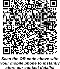 Scan the QR code above with your mobile phone to instantly store our contact details!